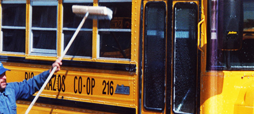 Pressure cleaning school bus services in Central TX.