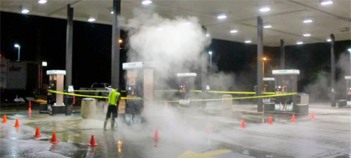Power Washer Cleaning and surface cleaning gas station and storefront in Waco TX.